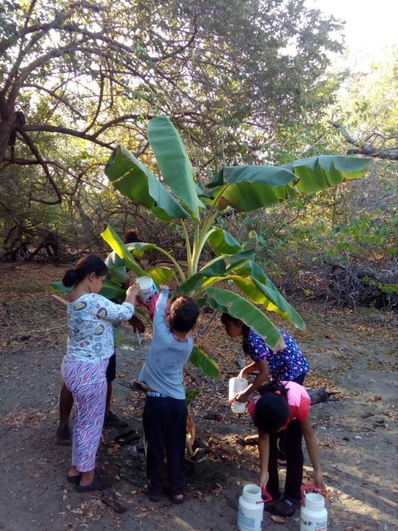 Kids helping us water the garden
